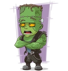 Cartoon scary green monster Frankenstein vector