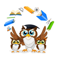 Cheerful school owl vector