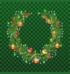 christmas wreath of fir branches on transparent vector image