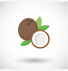 Coconut flat icon vector