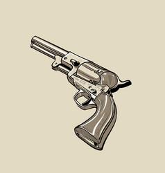 Colt model 1848 dragoon revolver digital sketch vector