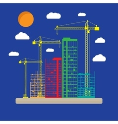 Construction site with buildings and cranes icon vector