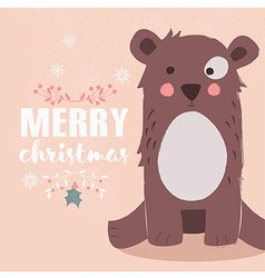 Cute brown bear and Merry Christmas lettering vector
