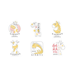 cute giraffe original design logo templates vector image