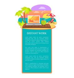 Distant work leaflet poster open notebook tropics vector