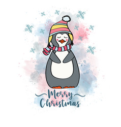 doodle christmas card with dressed penguin vector image
