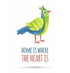 Doodle watercolor bird vector
