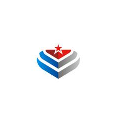 emblem star america abstract logo vector image