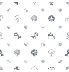 Encryption icons pattern seamless white background vector
