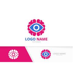 Eye and brain logo combination unique vector
