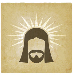 face jesus christ vintage background vector image