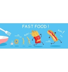 Fast Food Conceptual Banner Happy Meal for Child vector image