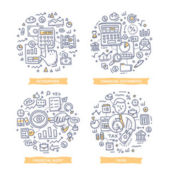 Financial report accounting doodle vector