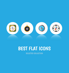 Flat icon compass set of divider geography vector