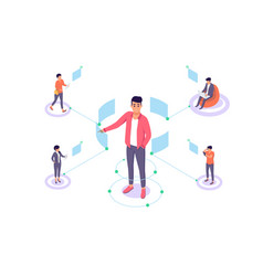 Flat man with remote employee communication vector