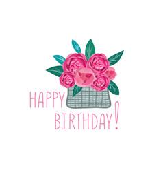 Flower in basket happy birthday greeting card vector