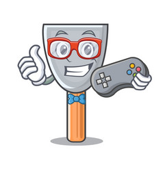 Gamer cartoon putty knife in plaster vector