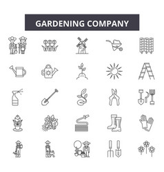 gardening company line icons signs set vector image