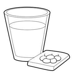 Glass of water and pills icon outline style vector