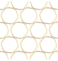 gold foil hexagons seamless pattern white vector image