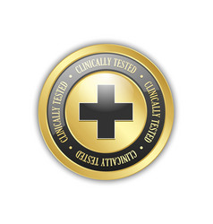 Golden clinically tested symbol with cross vector