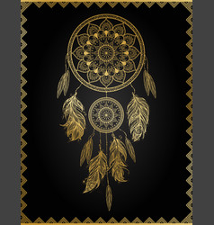 Golden dreamcatcher vector