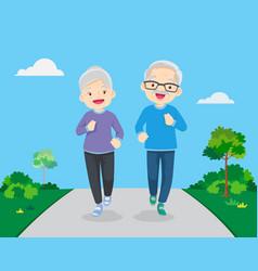 Grandparents doing exercises jogging vector