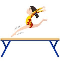 Gymnastics on balance beam vector image