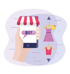 Hand with smartphone technology to buy clothes vector