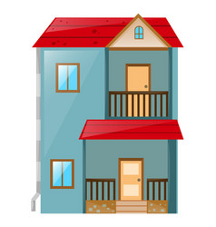 house painted blue with red roof vector image
