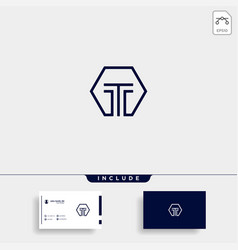 Initial t simple logo template design vector