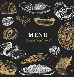 International food menu fusion cuisine vector