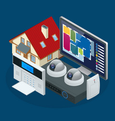 isometric alarm system home home security vector image