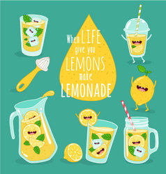 lemon lemonade set vector image