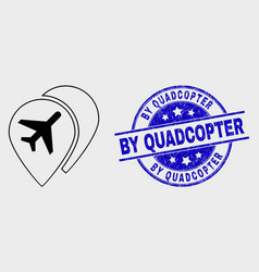line airport map markers icon and scratched vector image
