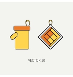 Line color kitchenware icons - oven-glove vector image