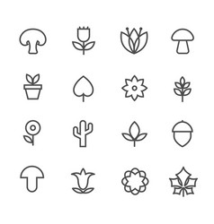 Linear nature icons thin line flowers and vector