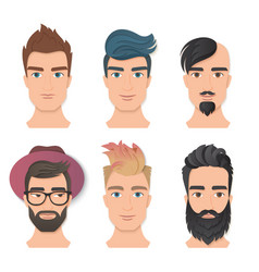 male portrait avatar face set vector image