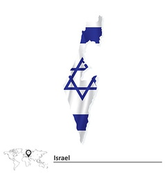 Map of Israel with flag vector