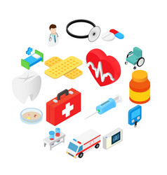 medical isometric 3d symbols collection vector image