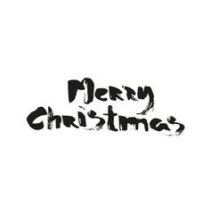 merry christmas calligraphic lettering black vector image
