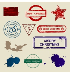 Merry christmas stamps vector