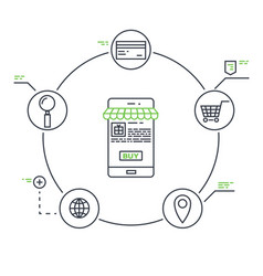 Mobile marketing line vector