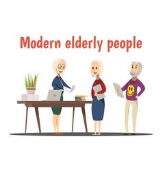 Modern elderly people composition vector