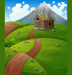 Mountain landscape with wooden cabin at the hills vector