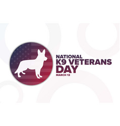 National k9 veterans day march 13 holiday vector