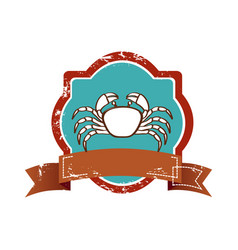 Old heraldic border with crab and label vector