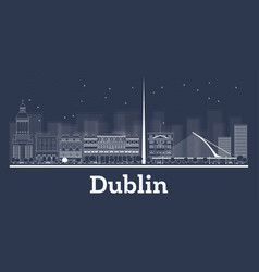 Outline dublin ireland city skyline with white vector