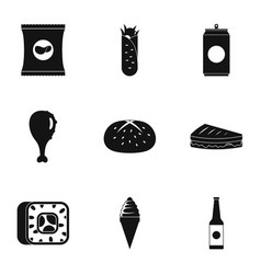 Overeat icons set simple style vector