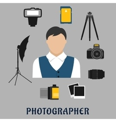 Photographer and devices flat icons vector